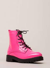 little punk faux patent combat boots neonpink