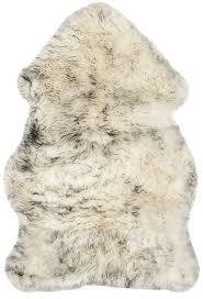 Safavieh Sheepskin Collection SHS121E Genuine Pelt Ivory And Smoke Grey Premium Shag Rug 2
