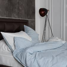 linen duvet cover set turquoise striped and white