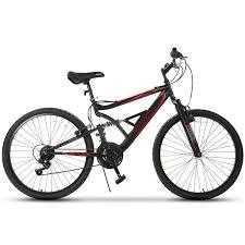 Gtm 26'' mountain bike 18 speed bicycle shimano hybrid suspension black red
