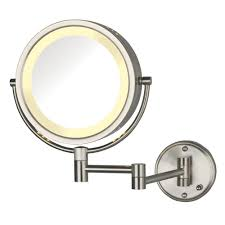 lighted wall mirror. lighted wall mirror in nickel-hl75nd - the home depot