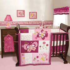 pink nursery furniture. Espresso Baby Crib Pink Butterfly Patterned Bedding Set Table Lamp Wall Picture Toy White Nursery Furniture