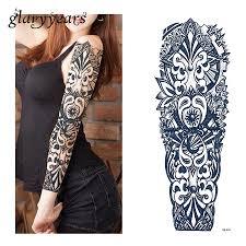 1 лист татуировки стикеры черный геометрия узор для женщин для мужчин полный