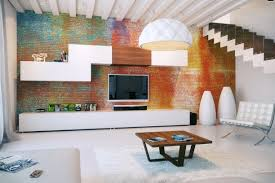 ... Extraordinary Partially Exposed Brick Wall With Modern Fake Exposed  Brick Wall Ideas For Living Rooms Modern ...