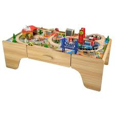 kids wooden train car work table with storage drawer
