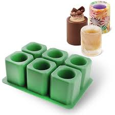 ic iclover 6 cups square green ice cube tray jelly tray chocolate mold ice shot glass mold food grade silicone n2