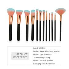 two tones bristles makeup brushes set 12pcs black