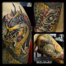 татуировки дракон с шаром и кровавый карп в стиле ориентал цветная