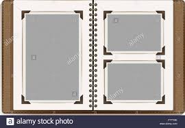 retro photo album aged open photo album blank pages with retro photo frames vector