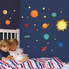 whole solar system wall stickers for kids rooms stars outer space sky wall decals planets earth sun saturn mars poster mural space wall stickers