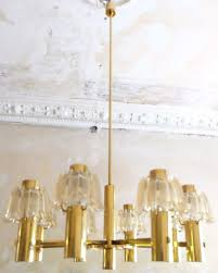 large brass and frosted glass chandelier from doria 1960s