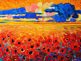 abstract field of poppies under cloudy sunset painting