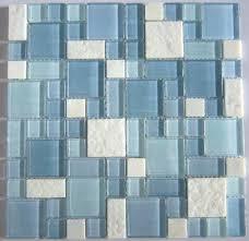 blue glass tile backsplash blue glass mosaic and white marble mosaic tile blue sea glass backsplash