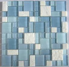 blue glass tile backsplash blue glass mosaic and white marble mosaic tile blue sea glass backsplash