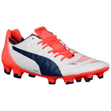 puma boots. puma evopower 1.2 fg football boots (white-orange) [10317107] - uksoccershop