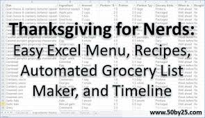 Thanksgiving Grocery List Template Thanksgiving For Nerds Easy Excel Menu Recipes Automated