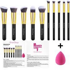 emaxdesign 10 1 pieces makeup brush set 10 pieces professional foundation blending blush eye face liquid powder cream cosmetics brushes 1 piece rose red