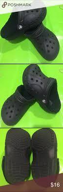 Kids Unisex Fuzz Lined Crocs Clogs Sz 1 J 3 Great Used