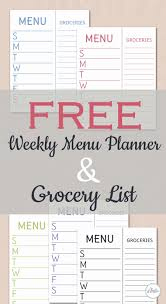 grocery list template printable simple grocery list template luxury free weekly menu planner