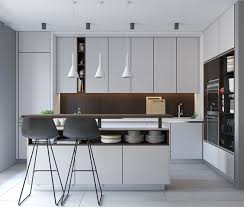 modern white kitchen. A Modern White Kitchen With Dark Wood Backsplash And Island  Storage