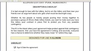 Illinois Lottery Pool Agreement
