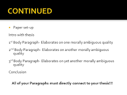 literary analysis essay ppt continued paper set up intro thesis