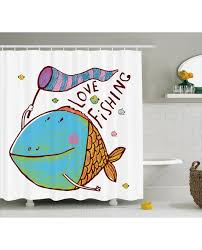 fish shower curtain for kids funny cartoon print for bathroom