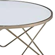 gold round small glass top coffee table