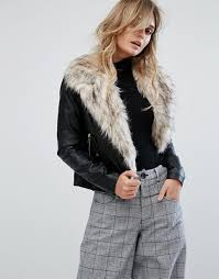 river island faux fur collar leather look biker jacket black women