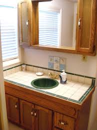 Bathroom, Natural Brown Color Vanity With Round Sink And Gold Color Faucets  Also Modern Design ...