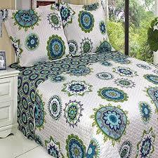 Boho Chic Blue Green Lightweight Quilt Coverlet Set Oversized King ... & Boho Chic Blue Green Lightweight Quilt Coverlet Set Oversized King/Cal King  - Bohemian style Adamdwight.com