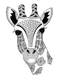 Giraffe Zentangle Coloring Page Adult Coloring Pages Giraffe