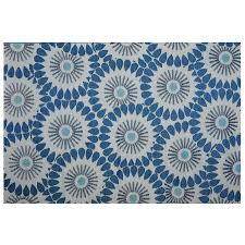 garden treasures blue and grey rectangular machine made area rug common 5 x