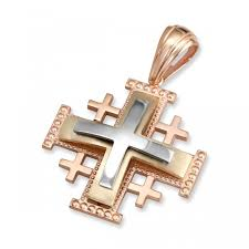 anbinder jewelry large tricolored 14k rose yellow and white gold tiered traditional milgrain jerum cross pendant jewelry my jerum