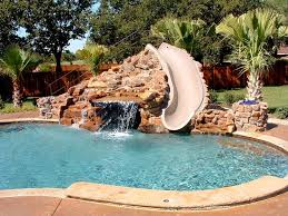 Swimming Pool:Astounding Oval Shape Swimming Pool Design With Chrome  Handrail Also Red White Pool