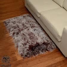 2 x 4 lamb fur rug frosted mocha mongolian grey faux