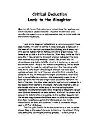 short essay on lamb to the slaughter lamb to the slaughter essay gcse english marked by