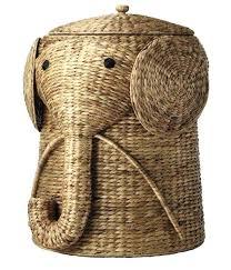 wicker elephant hamper baby clothes hamper laundry with lid wicker basket  elephant nursery animal kids rattan