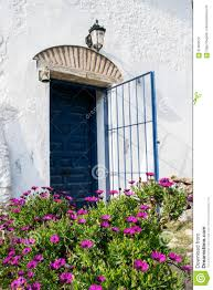 house front door open. Spanish Blue Old Entrance Door With The Open Gate In White House Front R
