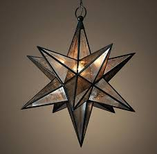 moravian star ceiling light fixture pendant frosted glass silver frame hanging uk