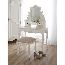 wondrous white vanity table and beautiful wood flooring and charming white curtain and stool