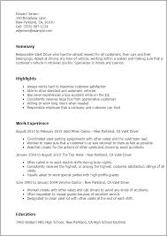 Resume Templates: Valet Driver