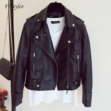 Fitaylor Female <b>New Spring Autumn</b> PU Leather Jacket Faux Soft ...