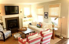 arranging furniture in small living room with fireplace with best paint color and tv wall