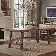 dakota oak reinforced concrete trestle dining table by inspire q artisan on today overstock 11960415
