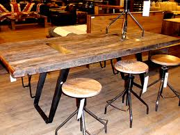 industrial reclaimed wood furniture. reclaimed demolition wood table and industrial stools furniture w