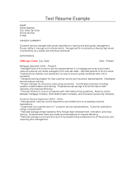 Gallery Of Text Resume Example