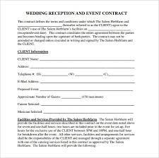 Venue Contract Template Sample Of Wedding Venue Contract Template 7894
