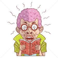 cartoon man reading a book vector graphic