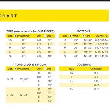 Body Glove Size Chart Nwt Body Glove Vivian Bikini Top